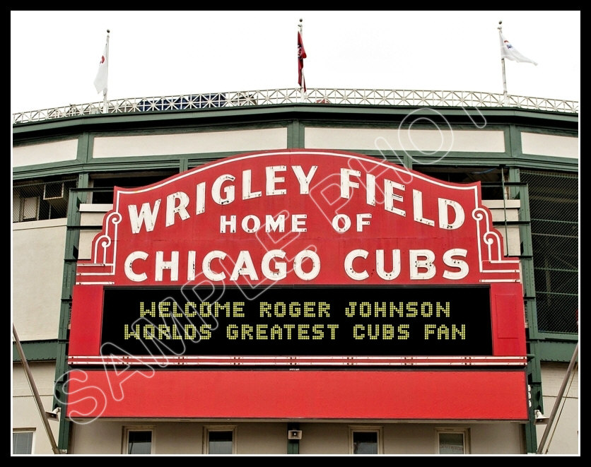 Personalized Wrigley Field Marquee Photo 11x14 Your Name