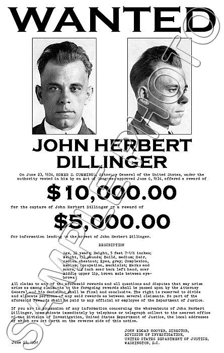 John Dillinger FBI Wanted Poster 11X17 - 1934 | eBay