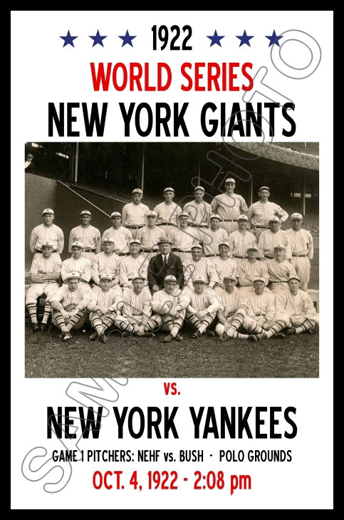 1922 WORLD SERIES PROGRAM PHOTO YANKEES VS GIANTS GIANTS WON THIS SERIES 8x10