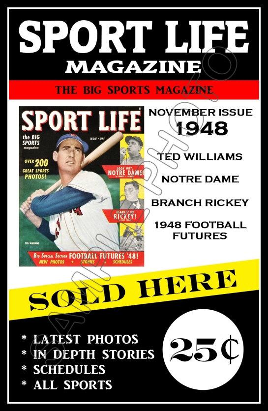 1948 ted williams sport life baseball magazine poster buy any 2